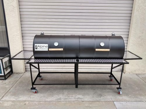 Tailgate Double Barrel Custom BBQ Grill with Diamond Plate Countertops