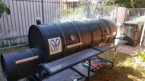 Double Barrel Custom BBQ Grill with Single Smoke Box