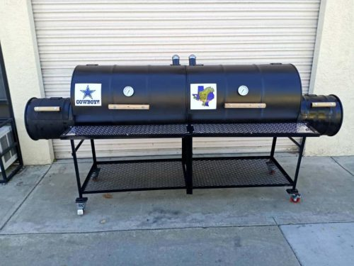 Double Barrel Custom BBQ Grill with Double Firebox