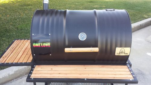 Single BBQ Barrel Custom Grill with Wood Countertops