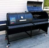 Deluxe Double Barrel Grill with Single Smoke Box and Side Wall Enclosure